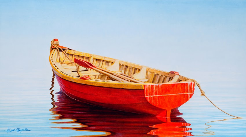 Red boat art and curator for Fishing boat painting