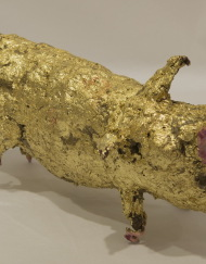 LM163 Slack Jaw 19x9x8cm, concrete,Metal and Gold leaf