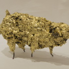 LM180 Fleece me 21x13x8cm, Concrete, Metal, Steel Wool and Gold Leaf