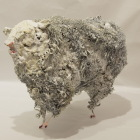 LM184 White Sheep 2 26x20x13cm, Concrete, Metal and Steel Wool